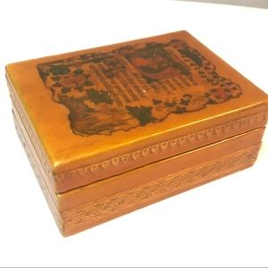 Vintage Trinket Box hinged with image lacquered